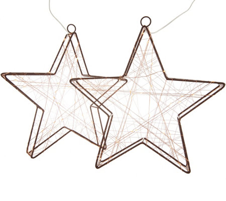 "Kringle Express Set of (2) 12"" Illuminated Stars"