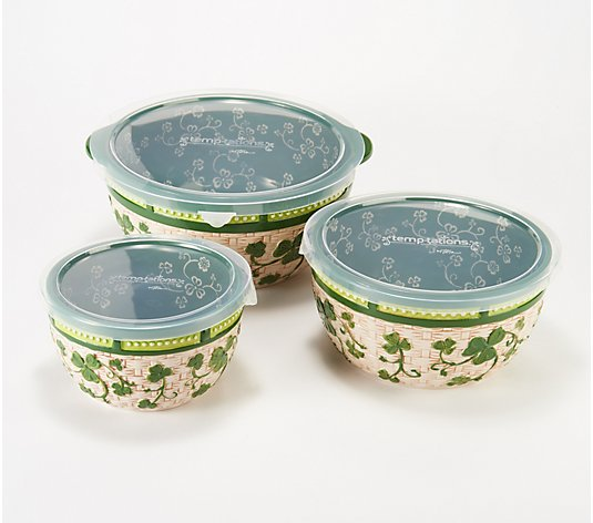 Temp-tations Floral Lace Set of 3 Basketweave Bowls