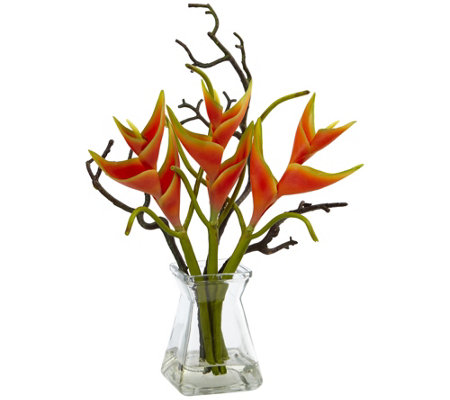 Heliconia In Glass Vase By Nearly Natural