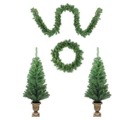 Northlight 5 Piece Christmas Trees Wreath Andgarland Set