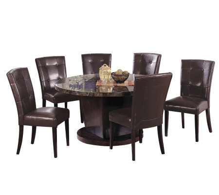 Round Black Marble Dining Room Set By Acme Furniture
