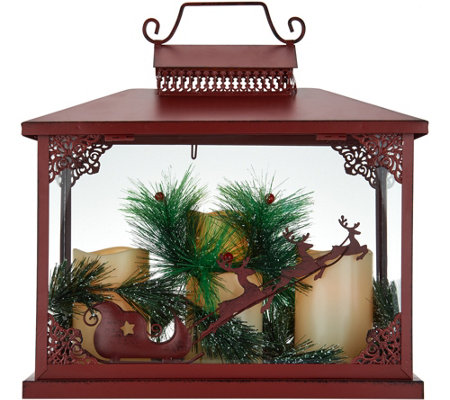 Oversized Holiday Lantern w/ 3 Flameless Candles by Valerie