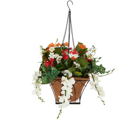 """As Is"" Bethlehem Lights Prelit Wistera Hanging Basket w/ Timer"