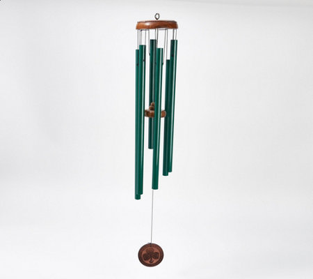 Michael Vignoles Wood And Steel Shamrock Wind Chimes