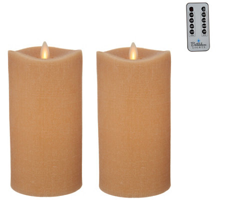 """As Is"" Bethlehem Lights Set of 2 7"" Moving Flame Touch Candle"