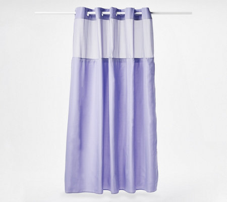 Hookless Solid Shower Curtain with Removable Liner