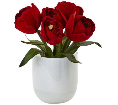 Tulips In White Glass Vase By Nearly Natural