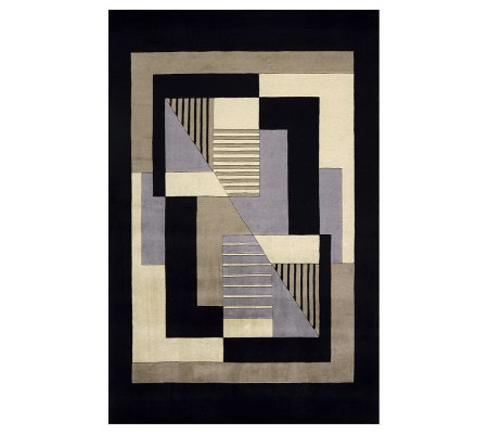 "Momeni New Wave Geometric 5'3"" x 8' Handmade Wool Rug"