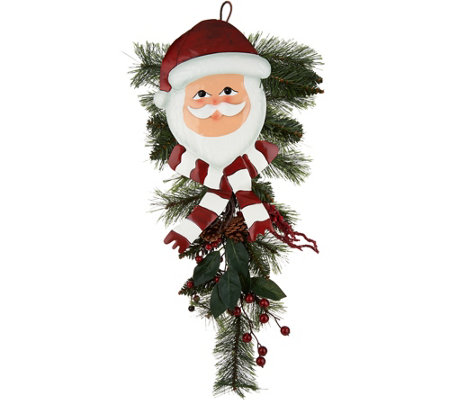 Plow & Hearth Holiday Character with Greens Door Swag