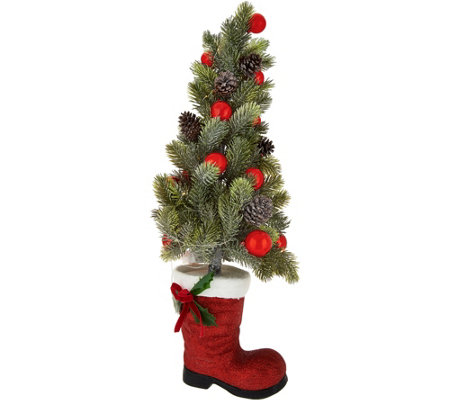 "24"" Illuminated Tree in Santa's Boot with Timer by Valerie"