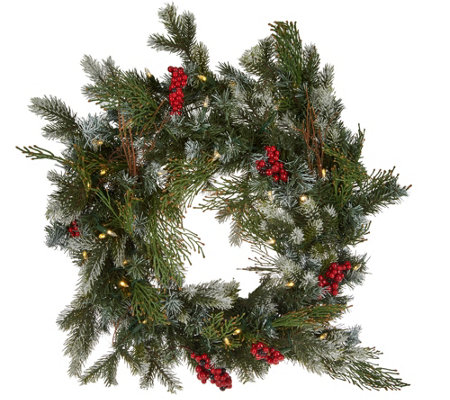 "Scott Living 24"" LED Color Flip Snow Dusted Wreath w/7 Functions"