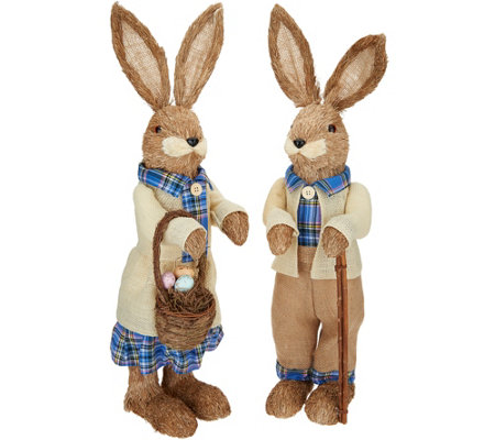 2-Piece Bunny Couple in Ivory and Blue Outfits by Valerie
