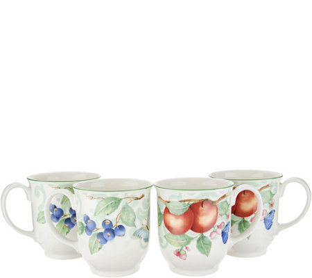 Villeroy & Boch French Garden Set of 4 Porcelain 14-oz Mugs