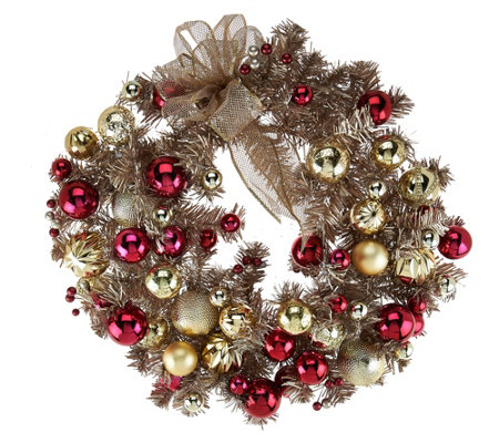 """As Is"" 22"" Red & Gold Vintage Ornament Wreath"