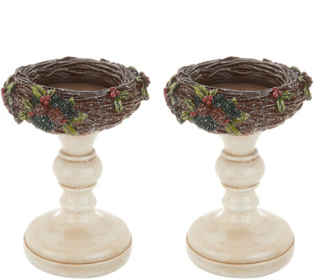 Set of 2 Glistening Bird Nest Pedestals by Valerie