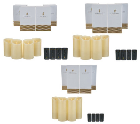 Luminara Set of 4 Flameless Candles with Remotes & Boxes