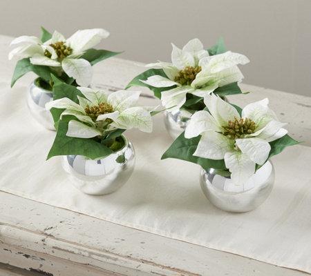 Set Of 4 6 Mini Faux Poinsettia Plants By Valerie Qvc Com