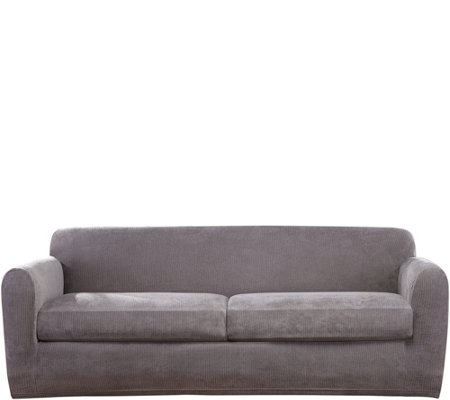 Sure Fit Stretch Chenille 2-Cushion Sofa Slipcover — QVC.com