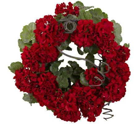 "17"" Geranium Wreath by Nearly Natural"