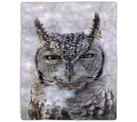Owl Sherpa Fleece Throw by Lavish Home
