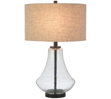 Hudson Canal Lagos Table Lamp Seeded Glass With Flax Shade