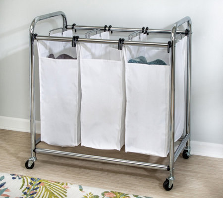 Honey-Can-Do Chrome Heavy-Duty Triple Laundry Sorter