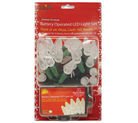 Battery Operated 35-Count C6 LED Light Set - Warm White