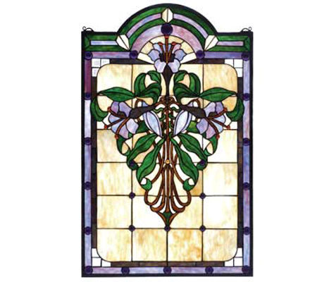 Meyda Tiffany-Style Flower Window Panel
