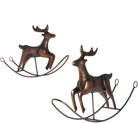 ED On Air S/2 Large & Small Rocking Reindeer by Ellen DeGeneres