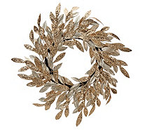 "22"" Sparkling Glittered Bay Leaf Wreath by Valerie - H209111"