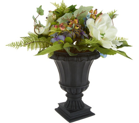 Hydrangea and Berry Arrangement in Decorative Urn by Valerie