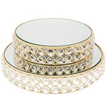 Set of 2 Stacking Faceted Glass Mirrored Trays by Valerie - H215311