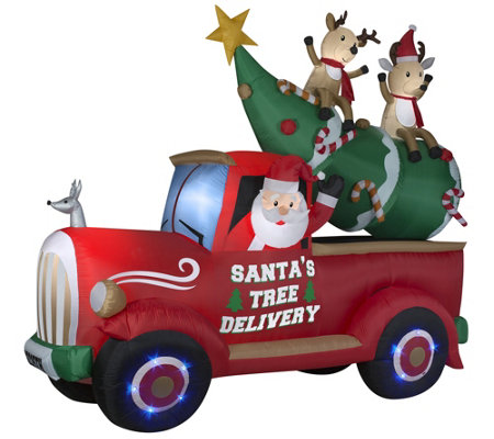 Kringle Express 11' Lit Inflatable Christmas Truck with Friends