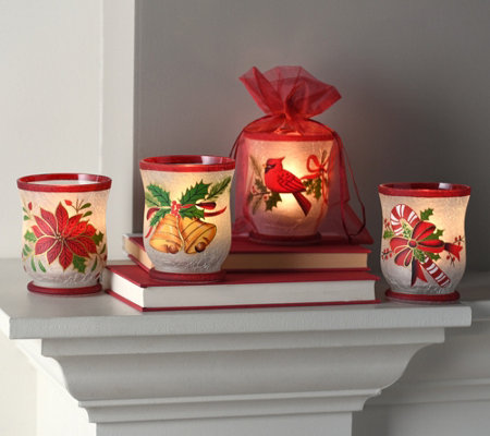 Set of 4 Illuminated Holiday Votives w/ Sheer Bags by Valerie