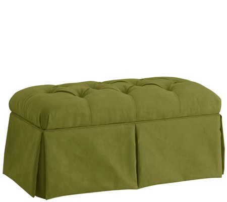 Skyline Furniture Skirted Storage Bench inVelvet