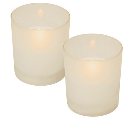 LumaBase Set of 2 Flameless Candles in White Glass Holders