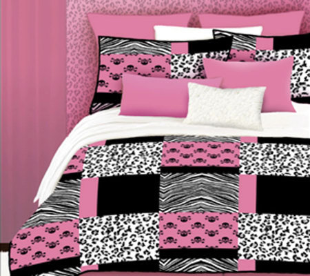 Veratex Pink Skulls Queen Comforter Set