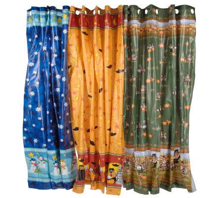 Set Of 3 Seasonal MildewResistant Hookless Vinyl Shower Curtains