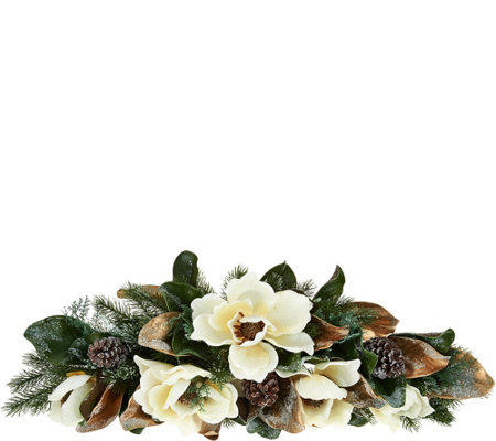 "31"" Iced Magnolia and Pinecone Swag by Valerie"