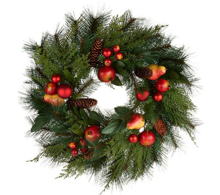 "20"" Pomegranate and Ornament Mixed Greens Wreath by Valerie"