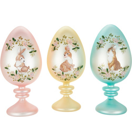 "Set of (3) 9"" Eggs on Pedestals w/ Decal Design by Valerie"
