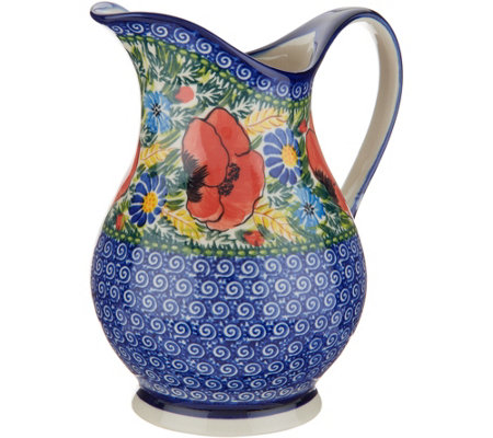 Lidia's Polish Pottery Hand-Painted 1 Liter Pitcher