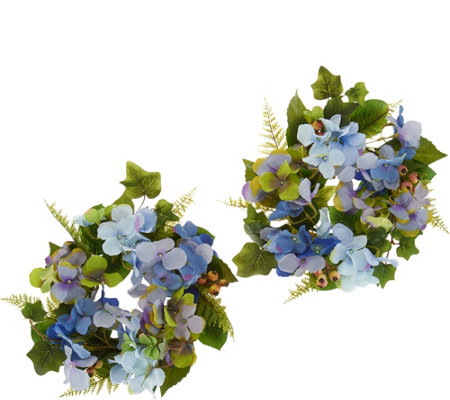 Hydrangea and Berry Set of 2 Rings by Valerie