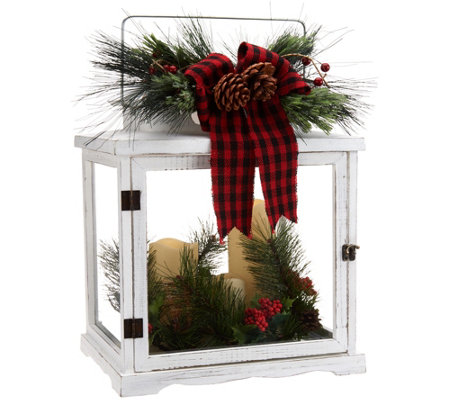 Plow & Hearth Wooden Lantern w/ 3 Removable Candles and Holiday Accents