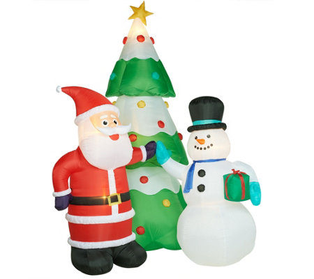 Kringle Express 12' Illuminated Inflatable with Santa, Snowman and Tree