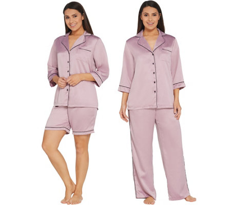 """As Is"" Casa Zeta-Jones 3-Piece Pajama Set w/ Piping Detail"
