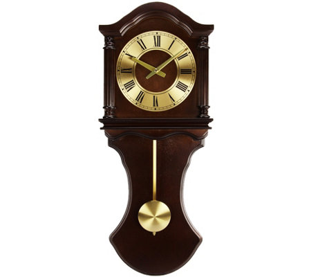 Bedford Clock Collection Chocolate Finish Pendulum Wall Clock