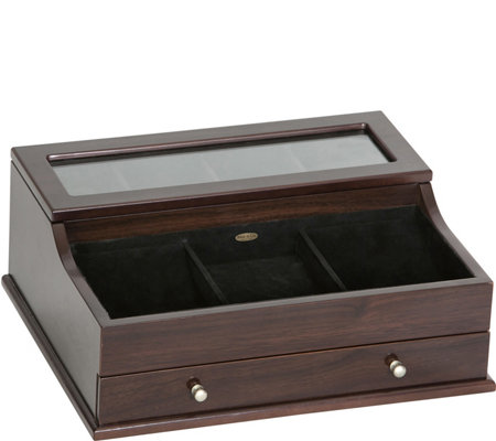 Mele & Co. Hampden Men's Glass Top Valet in Mahogany Finish