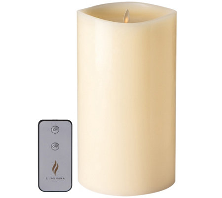 "Luminara Oversized 10"" Smooth Wax Candle & Remote Control"