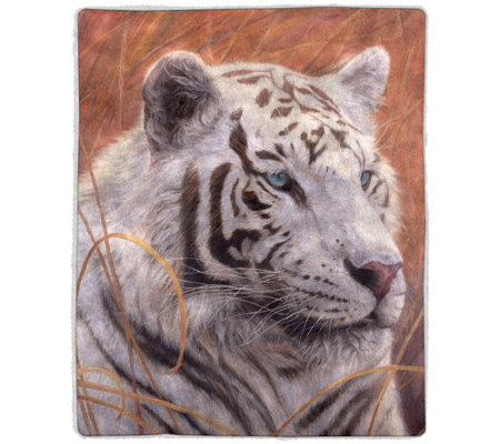 White Tiger Sherpa Fleece Throw by Lavish Home
